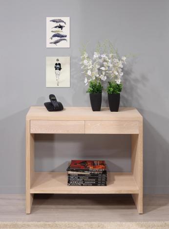 Console 2 tiroirs Frédéric réalisée en chêne de style Contemporain Finition chêne brossé blanchi