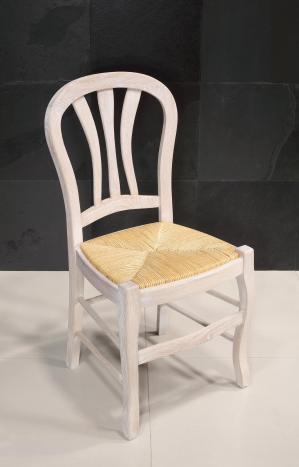 Chaise Hugo de style Louis Philippe réalisée en chêne massif assise paille Finition Chêne Brossé