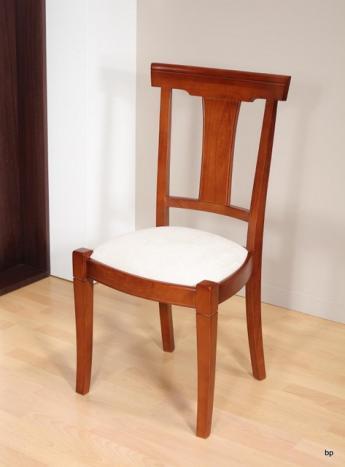 Chaise Lou réalisée en Merisier Massif de style Louis Philippe  MOLESKINE BLANCHE