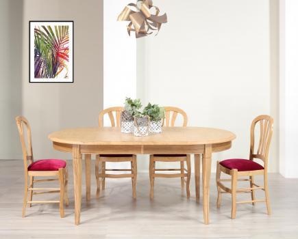 Table ovale Christophe 180*100 réalisée en Chêne Massif de style Louis Philippe 2 allonges incorporées de 40 cm Plateau marqueté