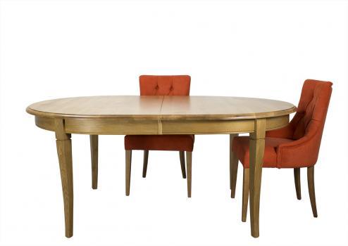 Table ovale Christophe 170*120 réalisée en Chêne Massif de style Louis Philippe 2 allonges incorporées de 40 cm