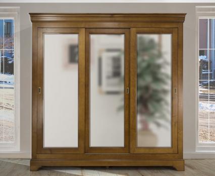 Armoire 3 portes Christine réalisée en Merisier Massif de style Louis Philippe PORTES COULISSANTES