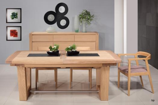 Table rectangulaire Samuel 220x110 réalisée en Chêne Massif 4 allonges de 40 Finition Chêne Brossé naturel