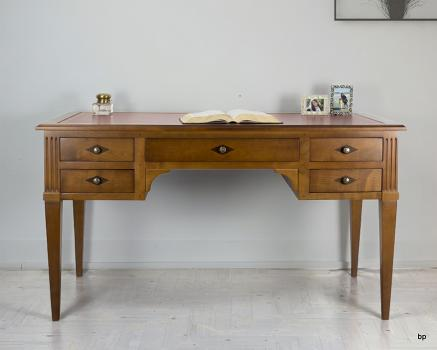Bureau 5 tiroirs en merisier massif de style Louis Philippe moleskine Bordeaux
