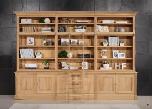 Bibliothèque 2 corps 6 portes Alix, réalisée en Chêne Massif de style Directoire AVEC ECHELLE Finition traditionnelle
