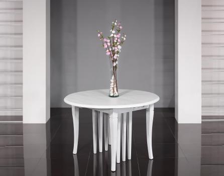 Table ronde à volets  DIAMETRE 120 réalisée en Chêne massif de style Louis Philippe 10 allonges de 40 cm (24 personnes)