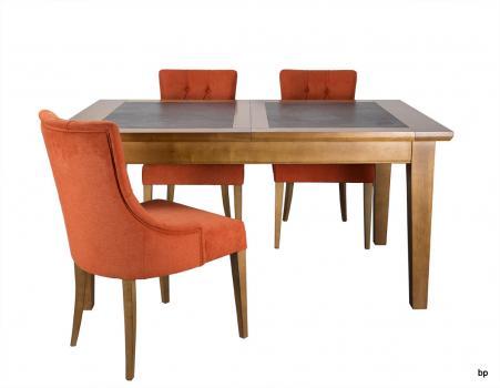 Table de repas Jeanne réalisée en Merisier Massif Pieds Fuseaux Plateau céramique Largeur 160 cm