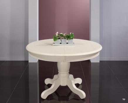 Table ronde pied central réalisée en Chêne Massif de style Louis Philippe DIAMETRE 120  Finition Lin patiné