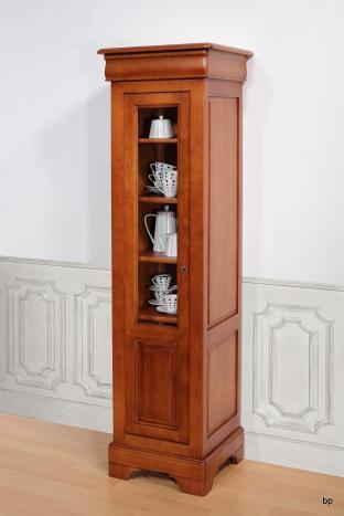 Vitrine 1 porte Clarisse réalisée en Merisier massif de style Louis Philippe 50 cm de large à la corniche