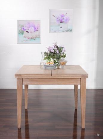 Table de repas 100x100  en Chêne massif de style Contemporain plateau ouvert 200x100