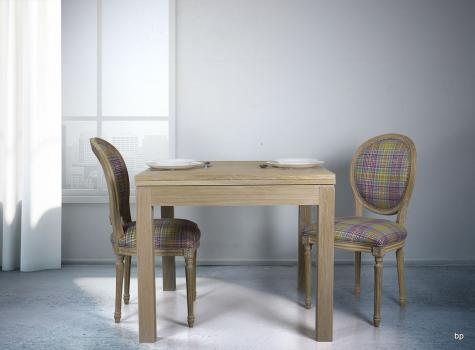 Table de repas 90x90 réalisée en Chêne massif de style Contemporain, plateau ouvert 180x90