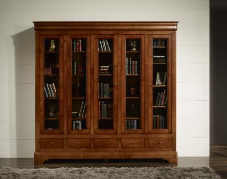 Bibliothèque Ethan, 5 portes 5 tiroirs, réalisée en Merisier Massif de style Louis Philippe