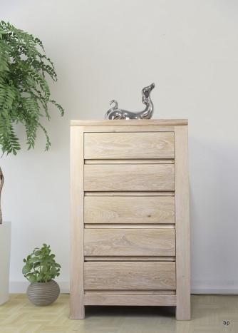 Petite commode 5 tiroirs Collection Nature réalisée en Chêne Massif