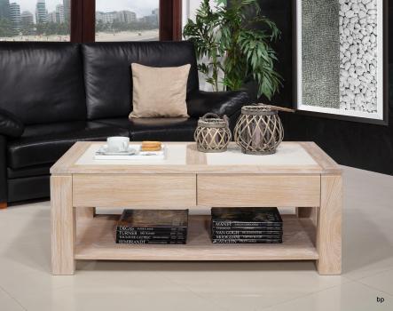 Table basse plateau céramique réalisée en Chêne Massif Ligne Contemporaine