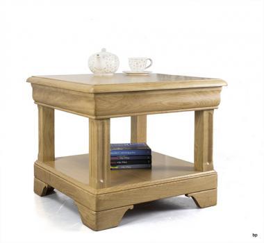 Petite table basse Ines en chêne de style Louis Philippe 1 tiroir