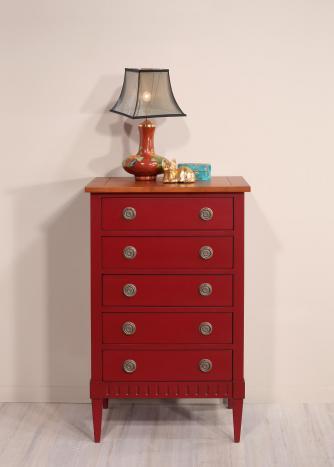 Commode 5 tiroirs Judith  en merisier de style Directoire Finition rouge patiné