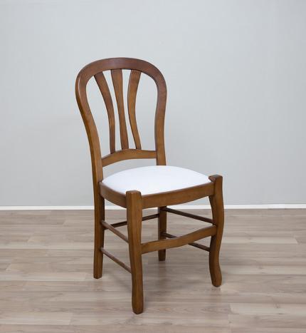Chaise Camille réalisée en MERISIER Massif assise tissu de style Louis Philippe