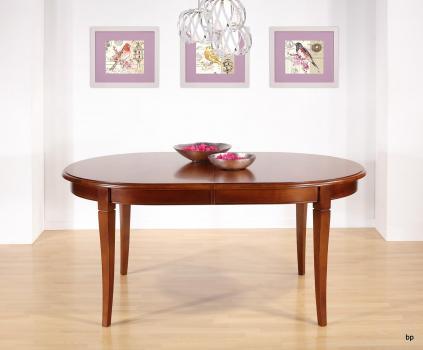 Table Ovale de salle à manger Estelle, réalisée en Merisier Massif de style Louis Philippe 180x120 avec 3 allonges