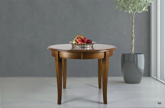 Table ronde 4 pieds Juliette réalisée en Merisier Massif de style Louis Philippe Diamètre 105 cm