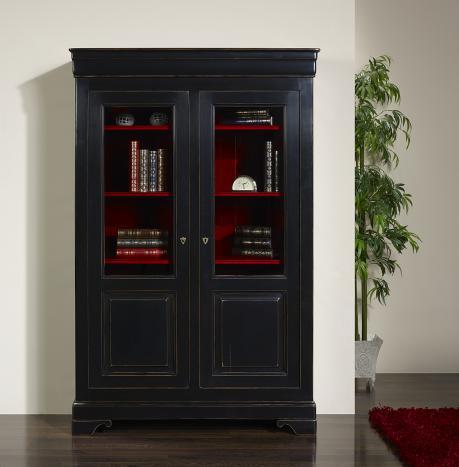 Bibliothèque 2 portes aurore réalisée en merisier massif de style louis philippe finition noir et rouge patiné