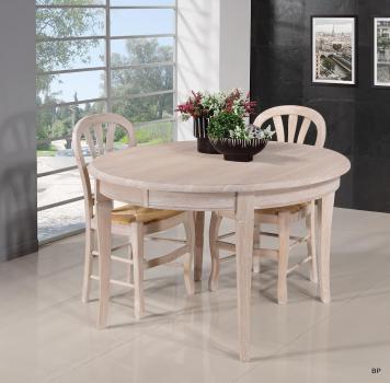 Table ronde Fabien réalisée en Chêne massif de style Louis Philippe Diamètre 120 + 5 allonges Finition Chêne Brossé (14 personnes)