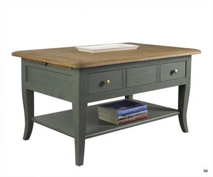 Table Basse rectangulaire Alexandre réalisée en Chêne de style Louis Philippe Longueur 85 cm  DORE ET VERT ANTIK