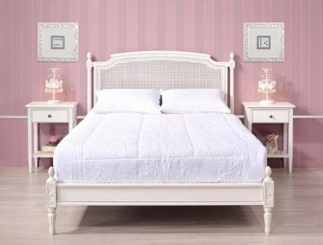 Lit victoire  en merisier de style Louis XVI Tête de lit cannée
