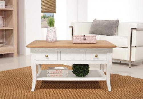 Table Basse rectangulaire Alexandre réalisée en Chêne de style Louis Philippe Longueur 85 cm  Ivoire