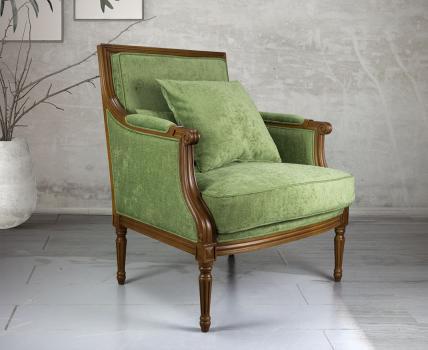 Fauteuil Laura de style Louis XVI réalisé en hêtre massif  Tissu Vert