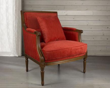 Fauteuil Laura de style Louis XVI réalisé en hêtre massif  Tissu Rouge