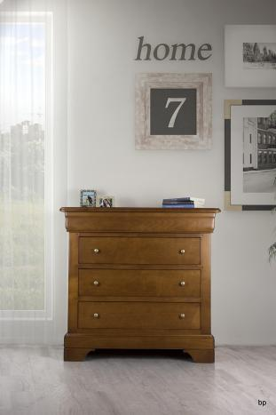 Commode 4 tiroirs en merisier massif de style Louis Philippe Largeur 94 cm