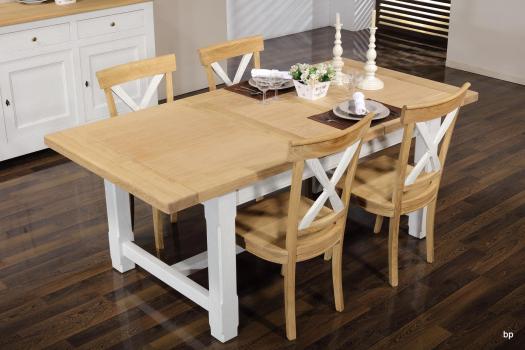 Table de ferme rectangulaire AXEL réalisée en Chêne massif 160x100 + 2 allonges de 45 cm Finition chêne Brossé et Ivoire Patiné