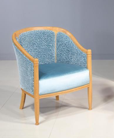 Fauteuil Cabriolet Paul réalisé en Chêne Massif de style Louis Philippe Bleu MMP