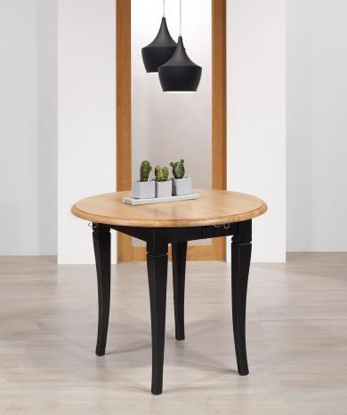 Table ronde à volets  en chêne massif de style Louis Philippe avec 2 allonges de 40 cm Diamètres 90