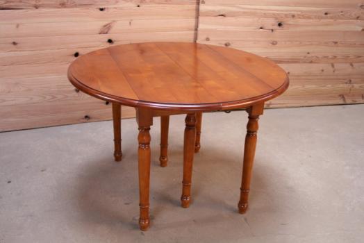 Table ronde à volets DIAMETRE 110 de style Louis Philippe en Merisier Massif 3 allonges de 40 cm