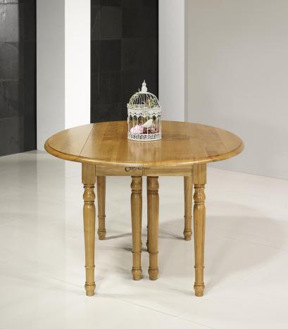 Table ovale à volets 135*110 en chêne massif de style Louis Philippe 7 allonges de 40 cm
