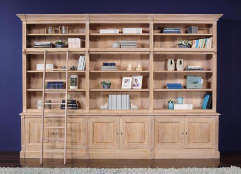 Bibliothèque 2 corps 6 portes Alix, réalisée en Chêne Massif de style Directoire AVEC ECHELLE
