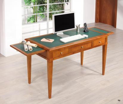 Bureau 3 tiroirs Agathe réalisé en Merisier Massif de style Directoire Surface d'écriture recouverte d'une moleskine verte