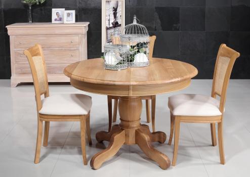 Table ronde pieds central Igor de style Louis Philippe  en Chêne massif diamètre 105