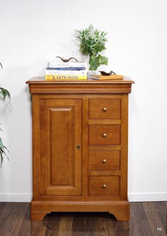 Farinier 1 porte 5 tiroirs Jean  en Chêne Massif de style Louis Philippe Finition Chêne moyen