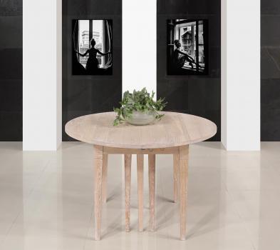 Table ronde à volets  DIAMETRE 110  en Chêne massif de style Louis Philippe 10 allonges de 40 cm PIEDS FUSEAUX