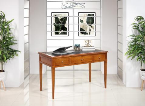 Bureau 3 tiroirs Agathe réalisé en Merisier de style Directoire Surface d'écriture recouverte d'une moleskine noir
