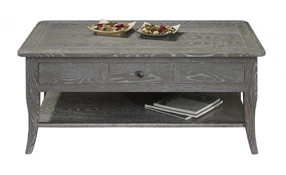 Table basse rectangulaire 100x60 COLLECTION LISA réalisée en Chêne de style directoire FINITION CHENE GRISE/BLANCHI, ANTIQUAIRE