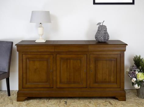 Buffet 3 portes estelle réalisé en merisier massif de style louis philippe finition merisier doré antik (léger vieillissement du bois)