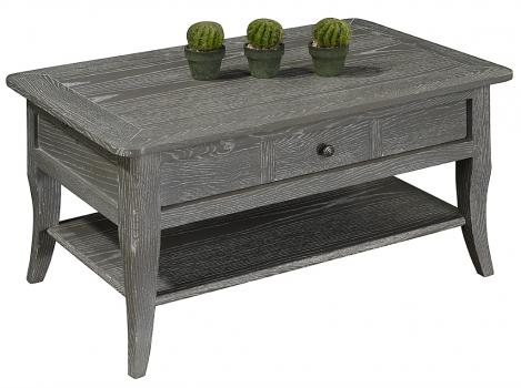 Table basse rectangulaire 85x55 COLLECTION LISA réalisée en Chêne de style directoire FINITION CHENE GRISE/BLANCHI, ANTIQUAIRE