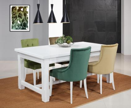Table de ferme rectangulaire AXEL réalisée en Chêne massif 140x100 + 2 allonges de 45 cm Finition chêne Brossé IVOIRE