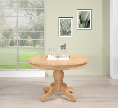 Table ronde pied central réalisée en Chêne Massif de style Louis Philippe DIAMETRE 120  Finition chêne brossé Naturel