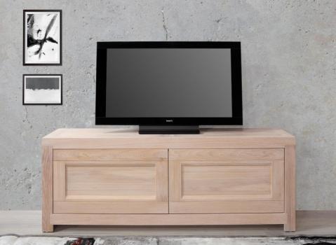 Meuble TV 2 portes Nahel, réalisé en chêne massif de style Contemporain