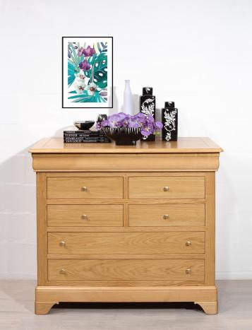 Commode 7 tiroirs Mathilde en chêne massif de style Louis Philippe