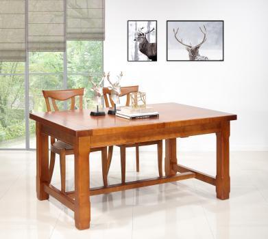 Table de ferme rectangulaire Mathis réalisée en MERISIER massif 140x100 + 2 allonges de 40 cm